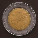 monedas del Mundo : Europa : Italia :  Plaza del Quirinale. Dama italiana  500 Liras reverso