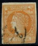 Stamps : Europe : Spain :  ESPAÑA_SCOTT 50 REINA ISABEL II. $0,8