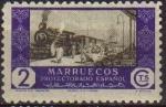 Sellos del Mundo : Africa : Marruecos : MARRUECOS Español 1948 Edifil280 Sello Nuevo Tren C0mercio por Ferrocarril