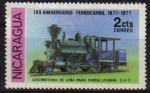 Sellos del Mundo : America : Nicaragua : NICARAGUA 1977 Sello Nuevo Tren Aniversario del Ferrocarril Locomotora de Leña para Carga Liviana