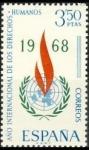 Stamps Spain -  ESPAÑA 1968 1874 Sello Nuevo Año Internacional Derechos Humanos Stamp Yv1533