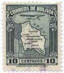 Stamps of the world : Bolivia :  Mapa de Bolivia