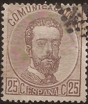 Stamps Spain -  Amadeo I  1872  25 cents