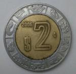 monedas de America - México -  2006 - 2 pesos