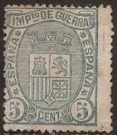 Stamps : Europe : Spain :  Impuesto de Guerra Escudo de España  1875  5 cts