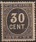 Stamps : Europe : Spain :  Impuesto de Guerra  1898  30 cts