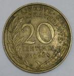 monedas de Europa - Francia -  1962- 20 centime