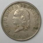 monedas del Mundo : America : Colombia :  1888 - 5 centavos