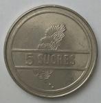monedas de America - Ecuador -  1991 - 5 sucres