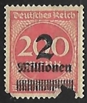 Stamps Germany -  Surch with new value in Tausend or Millionen