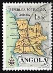 Stamps Angola -  Mapa de Angola
