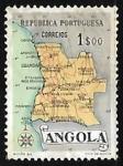 Sellos de Africa - Angola -  Mapa de Angola