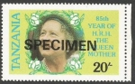 Stamps : Africa : Tanzania :  The 85th Anniversary of the Birth of Queen Elizabeth the Queen Mother