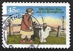 Stamps Australia -  brown rose and the midnight cat