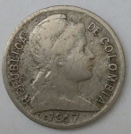 monedas de America - Colombia -  1947 error 2 centavos