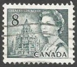 Stamps : America : Canada :  Queen Elizabeth II and Library of Parliament