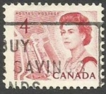 Stamps : America : Canada :  Queen Elizabeth II, ship in lock in the St. Lawrence Seaway
