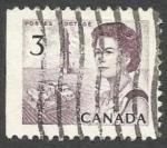 Stamps : America : Canada :  Queen Elizabeth II, oil derrick and combine harvester