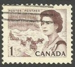 Stamps : America : Canada :  Queen Elizabeth II, northern lights and dog sled team