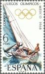 Sellos de Europa - España -  ESPAÑA 1968 1888 Sello Nuevo XIX Juegos Olimpicos de Mexico Vela Barcos