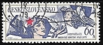 Stamps Czechoslovakia -  Red Star, Man, Child and doves