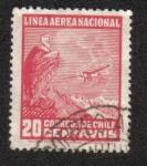 Sellos del Mundo : America : Chile : Cóndor andino (Vultur gryphus), avión sobre paisaje