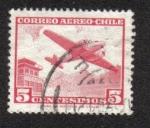 Sellos del Mundo : America : Chile :  Aeronave y torre de control
