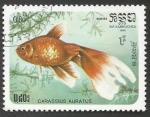 Sellos del Mundo : Asia : Camboya : Goldfish (Carassius auratus auratus) (1985)