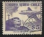 Stamps Chile -  Avion y tren