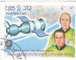 Stamps : Asia : Laos :  AERONAUTICA- 10 ANIVERSARIO VUELO SOYUZ-APOLO