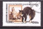 Stamps Cambodia -  serie- gatos en el arte