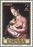 Stamps Spain -  ESPAÑA 1970 1966 Sello Nuevo Dia del Sello Pintor Luis de Morales El Divino La Virgen y el niño