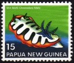 Stamps of the world : Papua New Guinea :  COL-SEA LUG (CHROMODORIS FIDELIS)