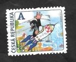 Stamps Czech Republic -  678 - Diseño, Un topo en cohete