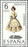 Stamps Spain -  ESPAÑA 1971 2014 Sello Nuevo Trajes típicos Españoles Valencia