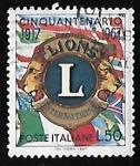 Stamps Italy -  50°aniversario  de la  fundacion del Lions Clubs