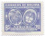 Stamps of the world : Bolivia :  Conmemoracion de la Entrevista presidencial Enrique Hertzog y Juan Domingo Peron