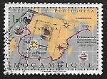sellos de Africa - Mozambique -  Mapa - Ruta a la India