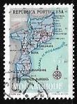 Stamps Mozambique -  Mapa de Mozambique