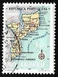 Sellos de Africa - Mozambique -  Mapa de Mozambique