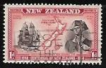 sellos de Oceania - Nueva Zelanda -  Explorador y su velero