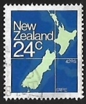Stamps of the world : New Zealand :  Mapa de Nueva Zelanda