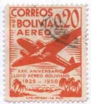 Stamps of the world : Bolivia :  Conmemoracion del XXV aniversario del Lloyd Aereo Boliviano