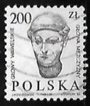 Sellos de Europa - Polonia -  Cabeza de hombre - escultura