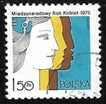 sello : Europa : Polonia : Año Internacional de la mujer