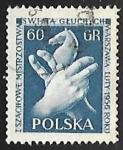 Sellos del Mundo : Europa : Polonia : Juego de ajedrez - caballo con manos