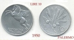 monedas del Mundo : Europa : Italia :  10 Lire   ITALIA  Palermo  1950