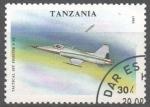 Stamps : Africa : Tanzania :  NORTHRUP  F - 5E  AVION  CAZA