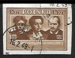 Stamps : Europe : Poland :  S. Wyspianski, J. Slowacki and J. Kasprowicz