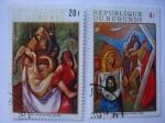 Stamps Burundi -  XIII-El hijo y su Madre - Santa verónica secó el rostro de jesús